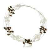 Perlový náhrdelník s kameny -  tygří oko a perly