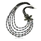 Perlový náhrdelník s kameny-onyx, perly, perleť