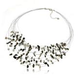 Perlový náhrdelník s kameny - onyx, perly, křišťál