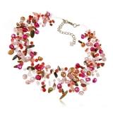 Perlový náhrdelník s kameny - perly, rhodonit, růženín