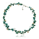 Náhrdelník tyrkys, sladkovodní perly, fasetovaný křišťál