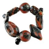 Náramek kámen onyx a muráno-sklo, na gumě