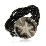 Perleťový náramek černý,  kamínky na gumě