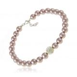 Perlový náramek, perly fialkové a kamínky křišťálu