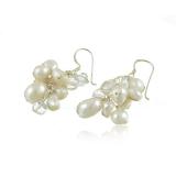 Náušnice sladkovodní perly a kamínky křišťálu