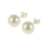 Náušnice stříbro a velká umělá perla 10 mm