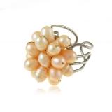 Prsten perly v jemných broskvových tónech