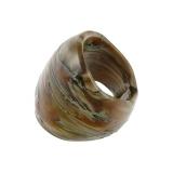 Prsten hnědý - kámen tygří oko, muráno-sklo
