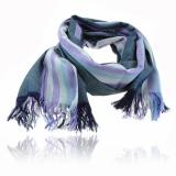 Šála alpaca a hedvábí 180x60 cm šedá, fialová, světle modrá